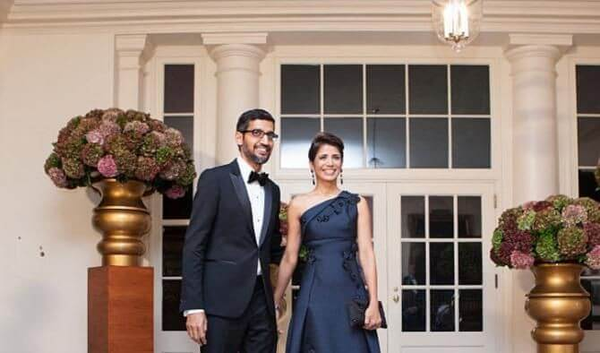 Anjali Pichai with her husband