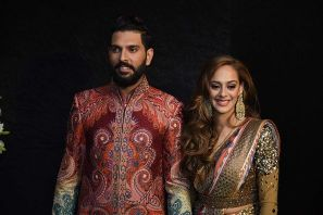 Yuvraj Singh with his wife